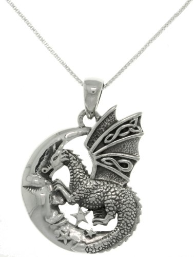 Sterling Silver Moon & Dragon Celtic Knot Pendant