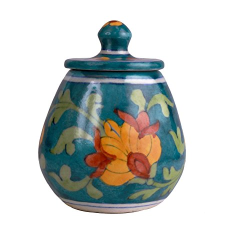 Hand Painted Decorative Pickle Jar With Famous Blue Pottery Art Kitchen Storage Accessory, Height- 4 Inches