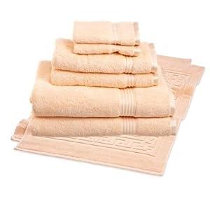 Italian 100 egyptian cotton 8 piece towel for Peach bathroom set