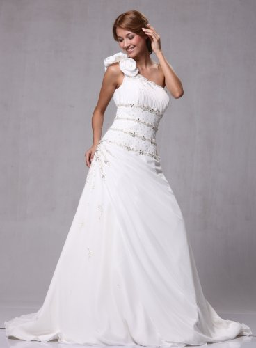 W77 Satin Chiffon One Shoulder Bridal Wedding