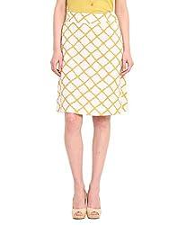 Saiesta White And Lime A -Line Skirt Geometrical Ikat Print