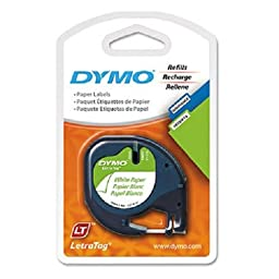 DYMO 10697 Self-Adhesive Paper Tape for LetraTag Label Makers, 1/2-inch, White, 13-foot Roll, 6-Pack
