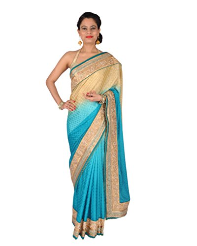 Ctc Mall Gold And Sky Blue Crepe Saree