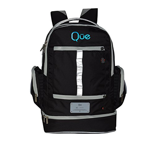 Que Powerbag Backpack - Built In Charging Station, Bluetooth Speakers, And Thermal Lunchbox (Kids Grey)