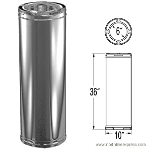6'' x 36'' DuraPlus Stainless Steel Chimney Pipe - 9017SS