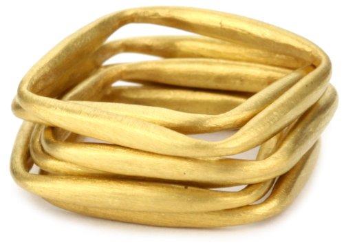 Kevia Brushed Gold Square Stacking Ring Set, Size 6