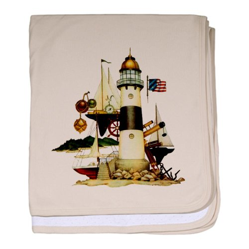 Baby Blanket Petal Pink Nautical Vintage Lighthouse Telescope Steering Wheel Anchor And Ships