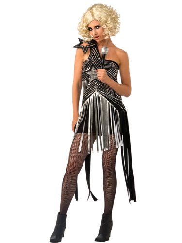 Lady Gaga Costume Dress Sexy Star Theme Black Outfit Womens Theatrical Costume