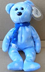 TY Beanie Babies 1999 Holiday Teddy Bear Stuffed Animal Plush Toy - 8 1/2 inches tall - Light Blue w