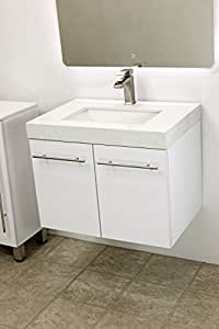windbay 24 wall mount floating bathroom vanity sink set vanities sink white. Black Bedroom Furniture Sets. Home Design Ideas