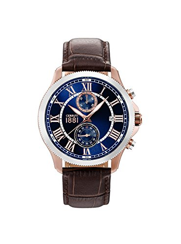 monterosso-Man-Cerruti 1881Watch-Rose Gold PVD Brown Leather Watch Strap, Silver Bezel-Chronograph-cra152srs03db