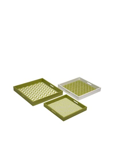 Set of 3 Essentials Graphic Trays, Green