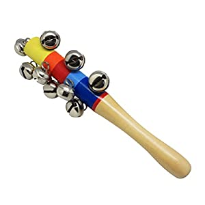Homgaty New Lovely Kid Handle Wooden Bell Stick Shaker Rattle Toy Sleigh 10 Bells