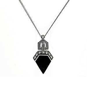 Gemondo Art Deco Style Necklace, Sterling Silver 1.50ct Onyx & 0.13ct
