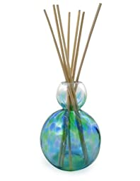 Hand-Blown Art Glass Refillable Reed Diffuser, Ocean Blue/Green with Included Green Tea Oil Fragrance