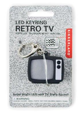 Kikkerland Retro Tv Led Light Keychain With Sound