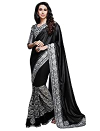 Shonaya Black Coloured Saree With Unstiched Blouse Piece (HIELE-10046_Black)
