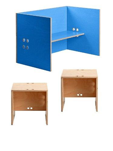 Kindersitzgruppe – Kindermöbel – 2 Kinderstühle + 1 Kindertisch / Bank. Freie Kombination der Farben möglich! (Stühle / Hocker transparent, Tisch / Bank blau) günstig bestellen