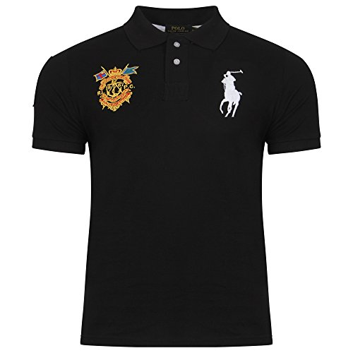 polo-ralph-lauren-t-shirt-avec-boutons-uni-col-chemise-classique-homme-noir-medium