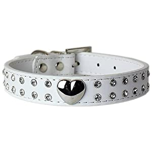 Parisian Pet Silver Heart and Stones Dog Collar, Large, White