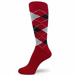 Spotlight Hosiery Men\'s Groomsmen Wedding Argyle Dress Socks-Red/Black/ Light Grey/White