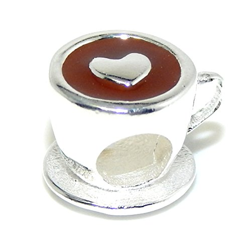 "Pro Jewelry .925 Sterling Silver ""Tea Cup W/ Heart"" Charm Bead For Snake Chain Charm Bracelet Ss2890"
