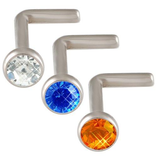 18g 18 gauge 1mm Steel nose rings bones studs screws bars Crystals JAFA Body Piercing Jewellery 3pcs