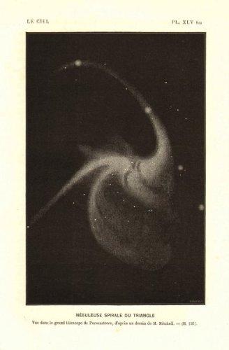 Astronomy: Triangulum Galaxy. Spiral Nebula Triangle; Rosse Telescope, Birr;1877