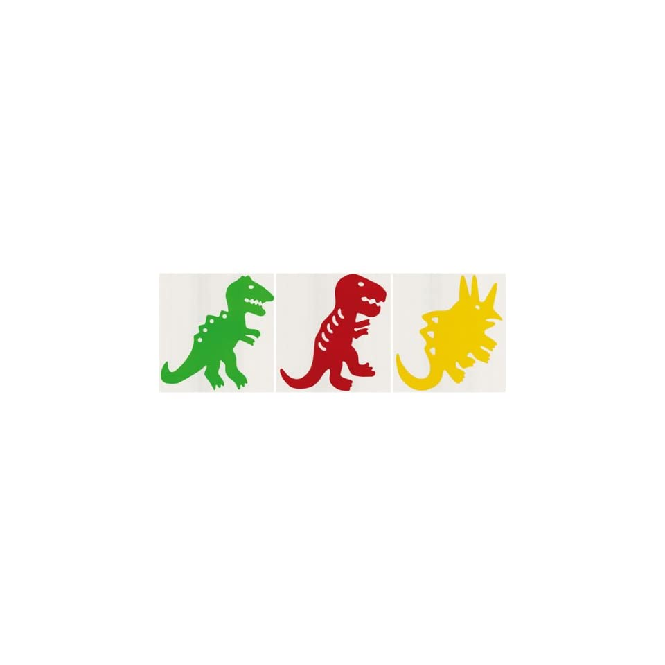Yellow, Red, and Green Large Dinosaurs Removable Wall Stickers