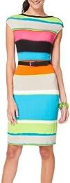 Siena Studio Striped Button Shoulder Belted Dress