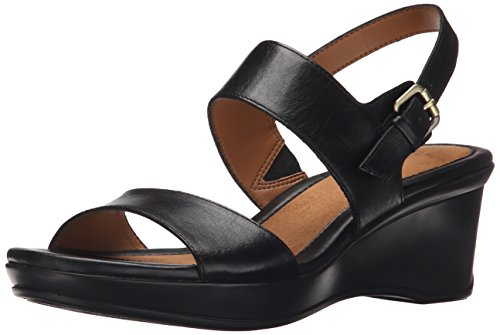 Naturalizer Women's Vibrant Wedge Sandal, Black, 9 M US