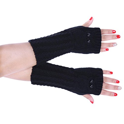 GBSELL Women Girl Owl Winter Knitted Gloves Arm Sleeve Fingerless Warmers Mitten (Black)