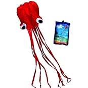 Hengda Kite-Beautiful Large Easy Flyer Kite For Kids - Red Software Octopus-It's BIG! 31 Inches Wide With Long...