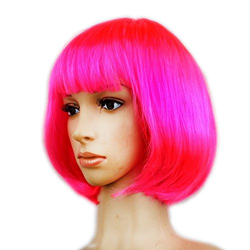 Women's Layered Bob Short Straight Wigs with Bangs Disco Rave Party Bob Wig Rose