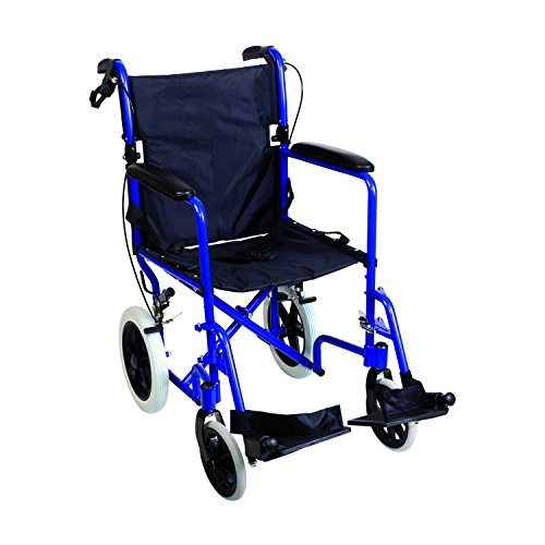 DMI Lightweight Folding Transport Chair Travel Wheelchair, Royal Blue