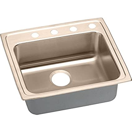 Elkao|#Elkay LRAD252145MR2-CU 18 Gauge Cuverro Antimicrobial copper 25 Inch x 21.25 Inch x 4.5 Inch single Bowl Top Mount Sink. Lustrous Highlighted Satin,