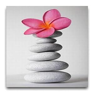 leinwandbild wandbild inklusiv schrauben rosa pink orchidee bl te steingarten steine wellness. Black Bedroom Furniture Sets. Home Design Ideas