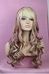 Long Curly Wig Full Wig Mix Color for Women Feels Like Real Human Hair