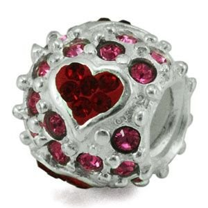 Authentic Ohm Beads Love, Love, Love Sterling Silver Pink and Red Swarovski Heart Bead Charm