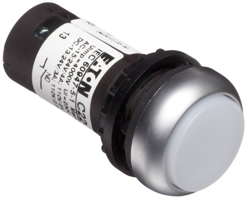 Eaton C22-Drlh-W-K10-120 Pushbutton Switch, Illuminated, Extended Mounted, Maintained Operation, White Led Color, Silver Bezel Color, Spst-No Contacts, 120Vac Voltage front-541954