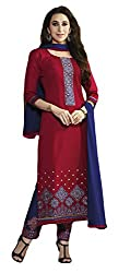 Sree Impex Women Heavy Cotton Semi Stitched Dress Material (SI-SK-52_Red_Free Size)