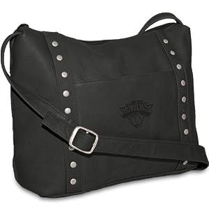 NBA New York Knicks Black Leather Ladies Top Zip Handbag by Pangea Brands