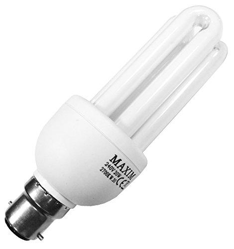 1x 20W Low Energy CFL Micro Spiral Light Bulb Warm White BC Bayonet B22 Lamps