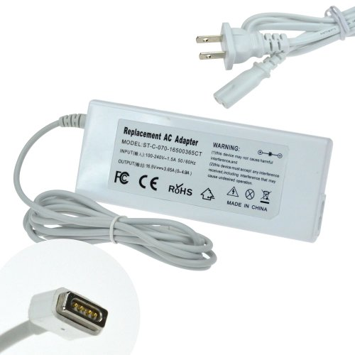 60W Ultra-slim AC Adapter/Power Supply/Battery Charger+US Power Cord for Apple MacBook A1181 A1184 A1278 A1330 MA254LL/A MA255LL/A MA472LL/A MA699LL/A MA700LL/A MA701LL/A MB061LL/B MB062LL/B MB063LL/B MB061LL/A MB062LL/A MB063LL/A Core Duo, Late 2006 Core 2 Duo, Late 2007, Mid 2007 Core 2 Duo, 13.3-inch, Black Santa Rosa, White Santa Rosa [16.5V 3.65A White]