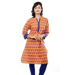Saamarth Impex Floral Printed Saffron Color 3/4 Sleeve Reversible Cotton Style Kurtis SI-2091