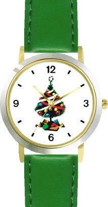 Christmas Tree and Christmas Presents Christmas Theme - WATCHBUDDY DELUXE TWO-TONE THEME WATCH - Arabic Numbers - Green Leather Strap-Size-Large ( Men's Size or Jumbo Women's Size ) - Buy Christmas Tree and Christmas Presents Christmas Theme - WATCHBUDDY DELUXE TWO-TONE THEME WATCH - Arabic Numbers - Green Leather Strap-Size-Large ( Men's Size or Jumbo Women's Size ) - Purchase Christmas Tree and Christmas Presents Christmas Theme - WATCHBUDDY DELUXE TWO-TONE THEME WATCH - Arabic Numbers - Green Leather Strap-Size-Large ( Men's Size or Jumbo Women's Size ) (WatchBuddy, Jewelry, Categories, Watches, Men's Watches, By Feature, Water Resistant)