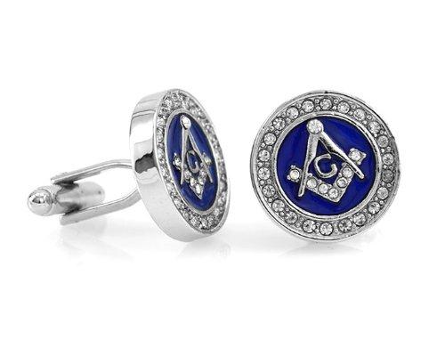 Classic Blue Enamel Mason Masonic Silver Tone Cufflinks Gift Boxed