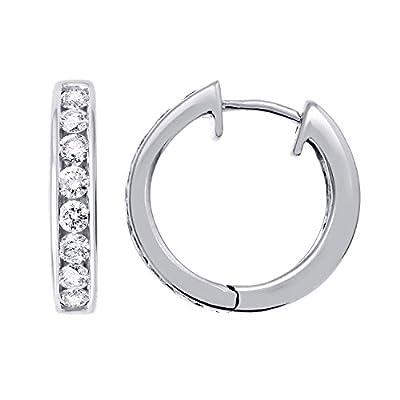 14k Gold Hoop Huggies Diamond Earrings (1/2 carat)