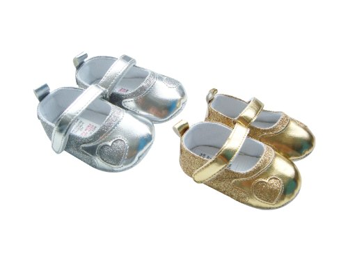MABINI® Baby Girls Gold or Silver Shiny & Glitter Effect Soft Shoes
