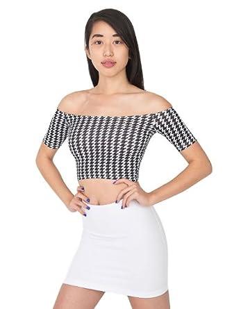 American Apparel Houndstooth Print Cotton Spandex Off Shoulder Top - White Black Houndstooth / L